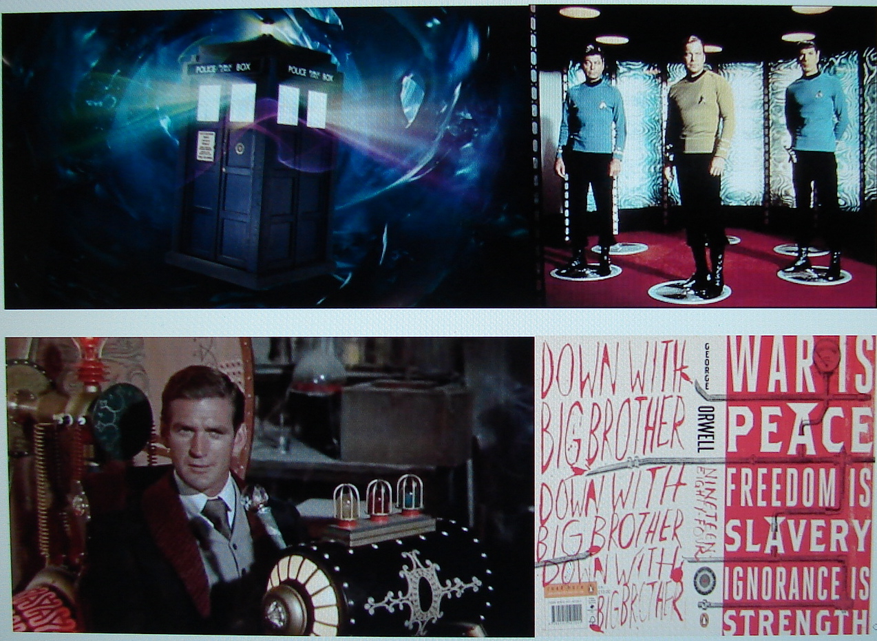 Which one of these things isn't quite like the others? Counter-clockwise: Star Trek's teletransporter; Dr. Who's Tardis; an old school time in The Time Machine; or, George Orwell's novel NIneteen Eighty-four?