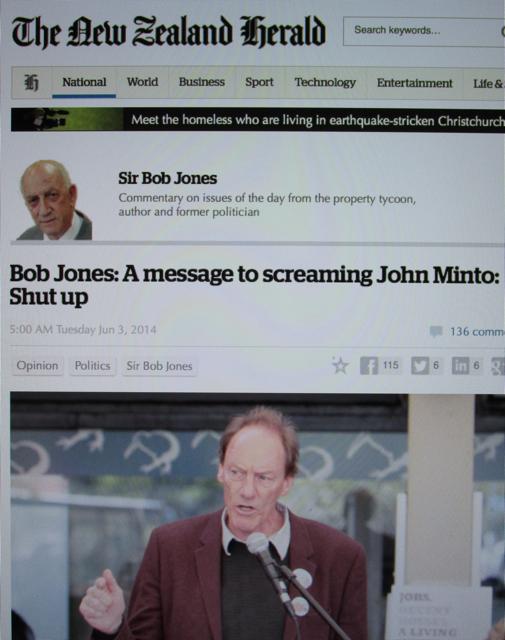"Hate Speech: Capital city property tycoon Bob Jones calls activist John Minto a ""screaming skull""."
