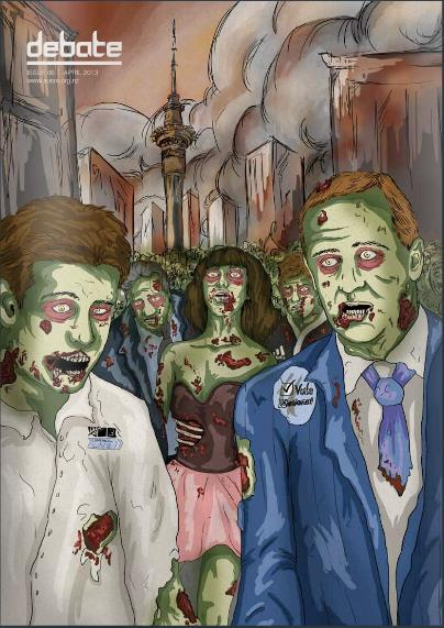 Apocalyptic Infection: During Key's Ministry the Neo-Liberal 'free market' Zombie contagion claimed many media victims.