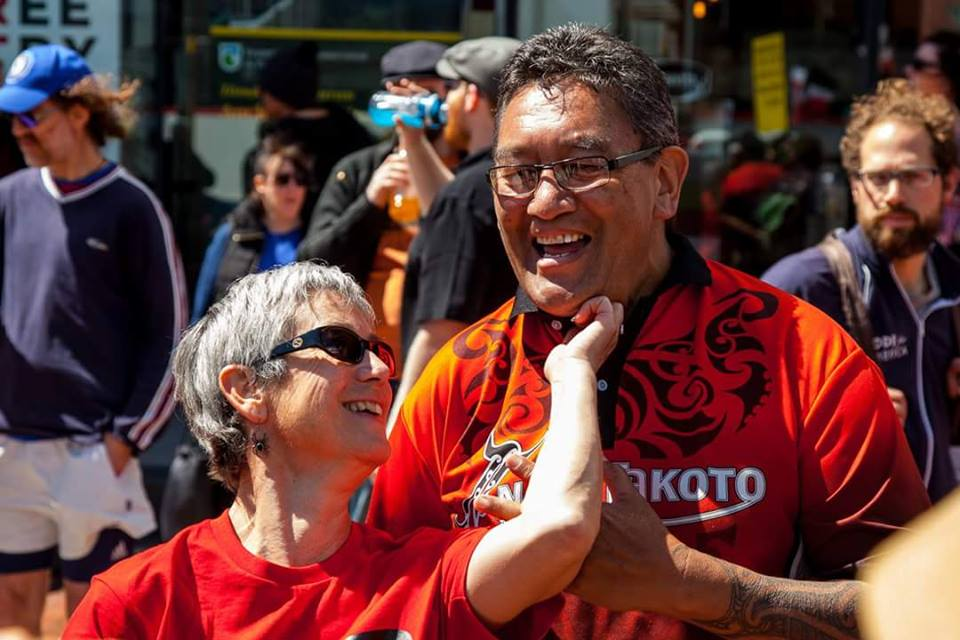Fun in Protesting: Jane Kelsey & Hone Harawira know that battles with governments requires tenacity.