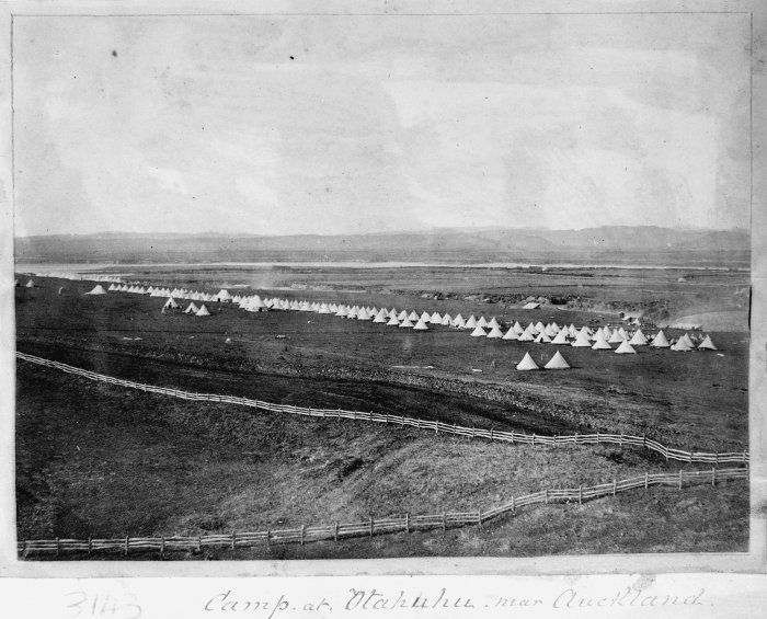 Otahuhu Camp of Imperial forces: Tents of the 70th, 14th, 40th and 12th regiments.