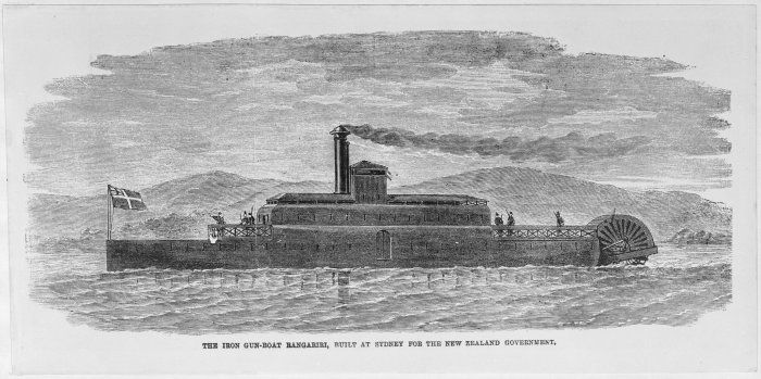 Rangiriri: One of several Ironclad steam-powered gunboats commissioned by Govenor Bro. George Grey.