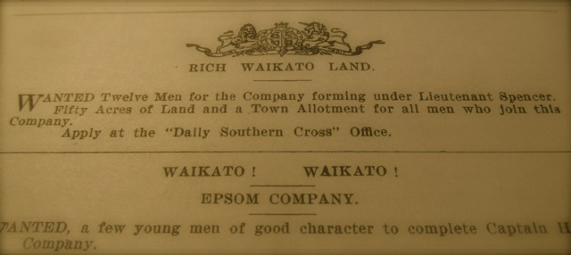 Militia Enticement: This advertisement states that premises of the Daily Southern Cross newspaper is also a recruitment office for raising a Waikato Militia.