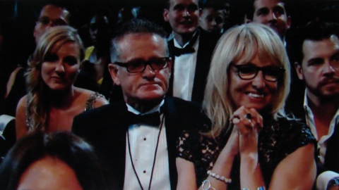 Proud parents: Father Vic O'Connor and mother Sonya Yelich watch their daughter, Ella Yelich-O'Connor, give her suppressed Grammy speech for Song of the Year, 'Royals'.