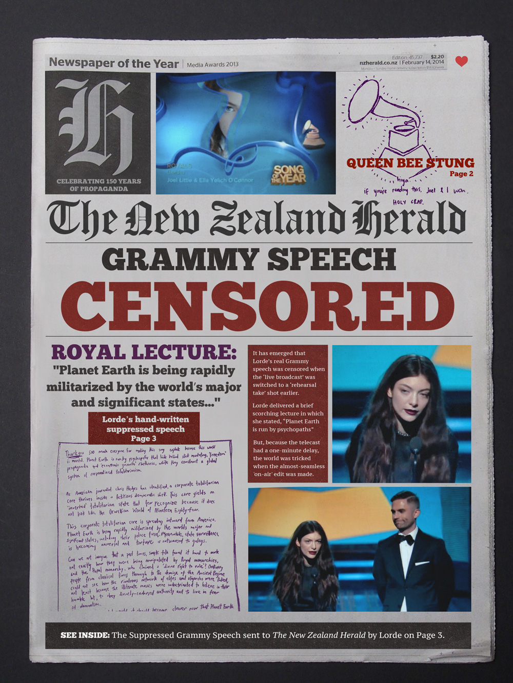 Scene Stealing: New Zealand's leading 'national' newspaper tries to scoop a big story.