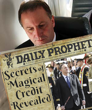 Credit Conjurer: Ex-Wall Street & London Banker, John Key has borrowed $300 million a week as New Zealand's prime minister to keep the economy 'solvent'.