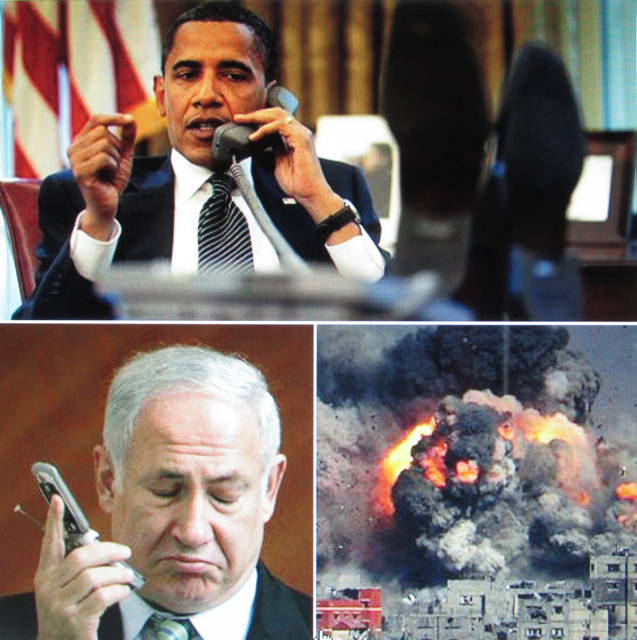 """Bibi, stop bombing, already … or we'll cut your bullets,"" Obama tells Israel's prime minister Benjamin (Bibi) Netanyahu (Leaked White House Transcript)"