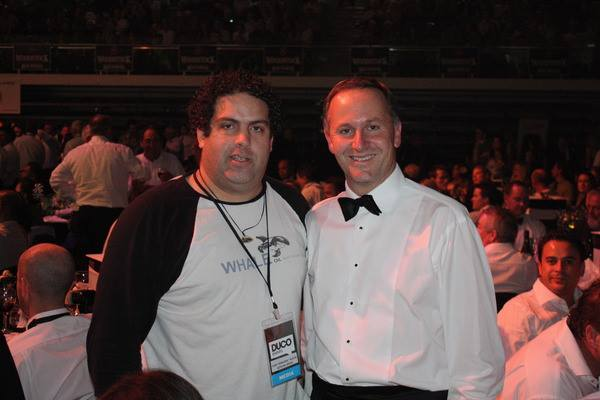 Chalk and Cheese: Right-wing Blogger Cameron Slater and Rich-lister Prime Minister John Key in happier nights.