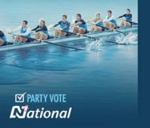 Blue Team Go-Getters: The Neo-liberal Team Blue cast themselves as a athletic crews of winning canoe racers, absent any minor right-wing neo-liberal parties.