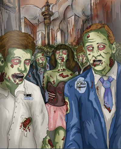 Zombie Infection: The 'Political apathy' zombie contagion spread to New Zealand media outlets via think-tanks such as the Business Roundtable and The Mont Pelerin Society.