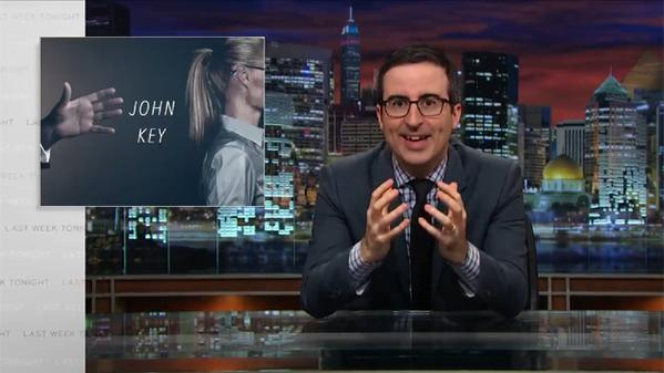 More Cat than Prime Minister: English comedian John Oliver mocks 'no drama' John Key for his creepy serial bullying.