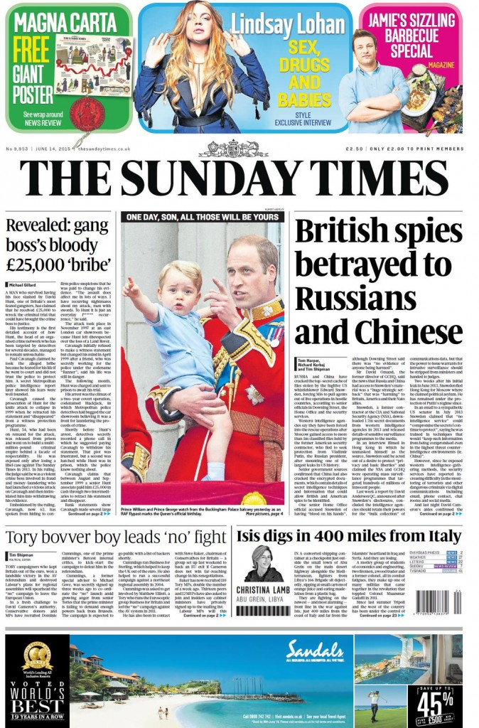 Breaking! The Sunday Times prints the view of Her Majesty's Government.