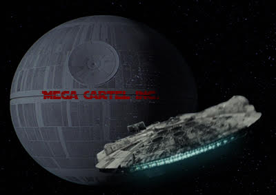 Not Beaten Yet: The Millennium Falcon gets sucked into the Mega Cartel Death Star.