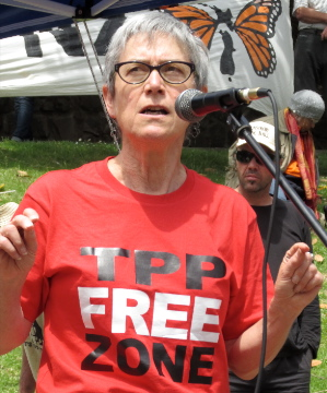 Credit where credit is due: Jane Kelsey promoting TPP free zones [Photo: Snoopman]