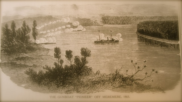 Pioneer at Meremere: One of Governor Bro. George Grey's ironclad steamers depicted in battle on the Waikato River in 1863.